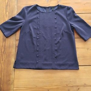 Ann Taylor Blue Scallop Front Top